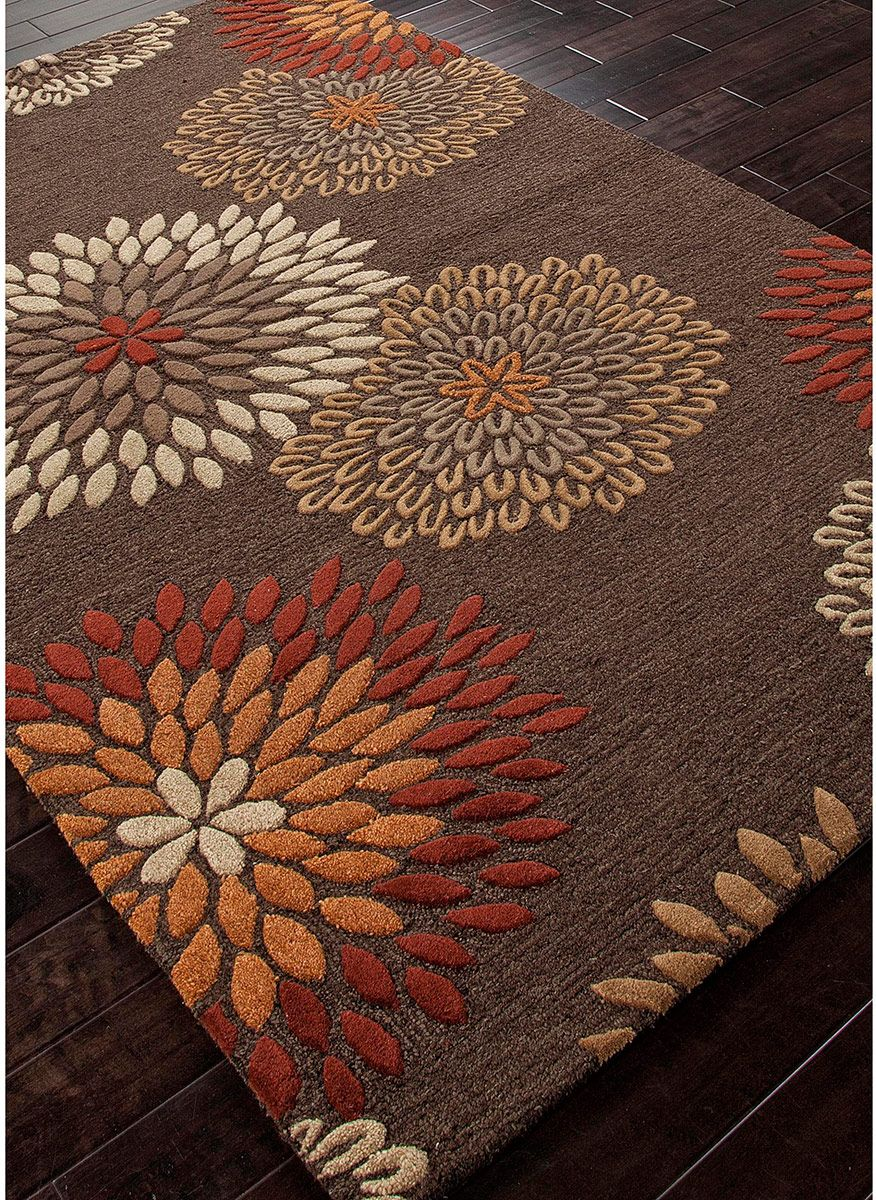 Orange red brown beige floral modern for Red floral area rug