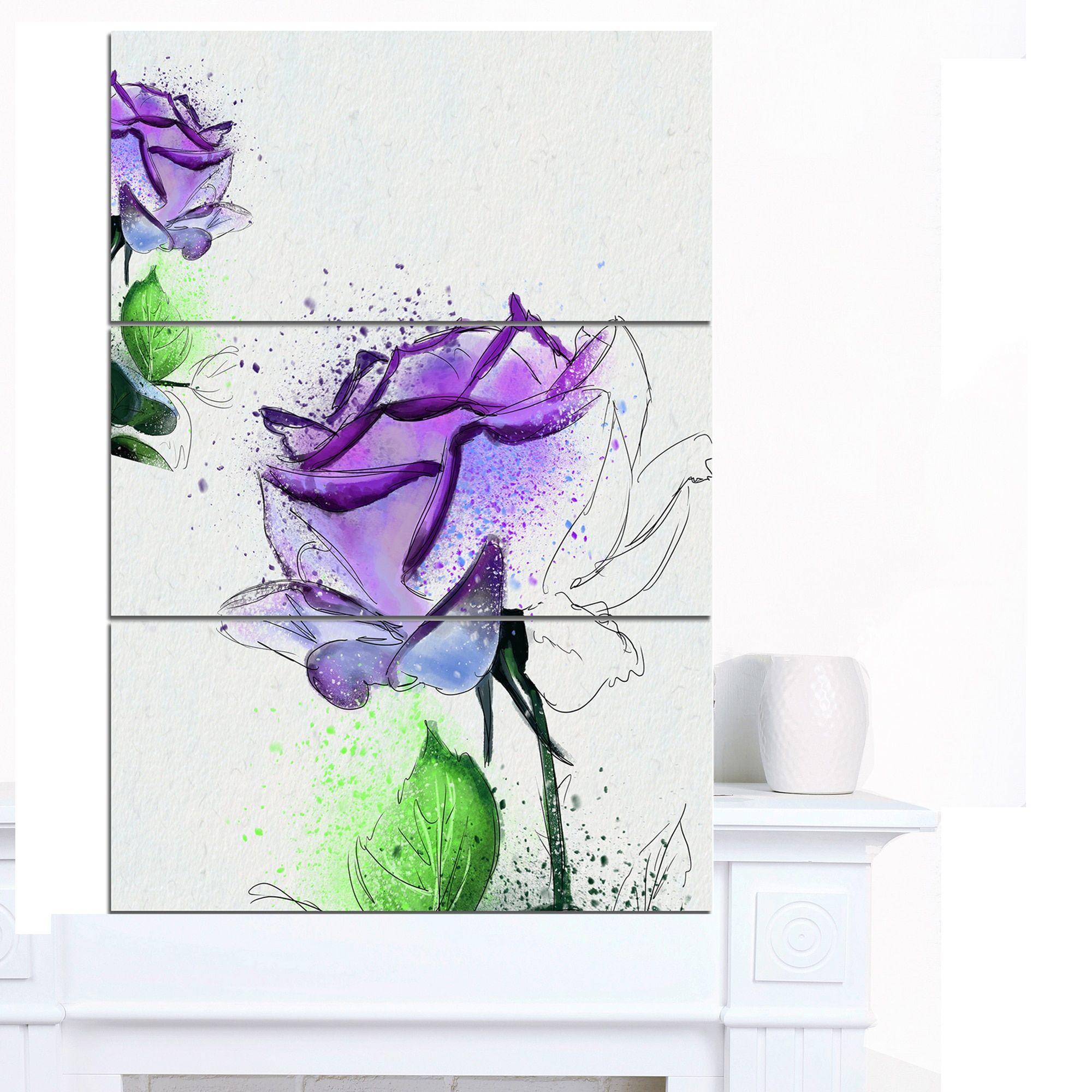 Designart ublue rose flowers with leavesu extra floral canvas art