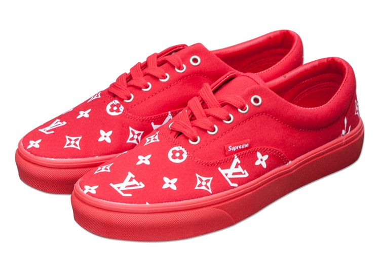 6ed991e850c9a6 Red Vans Supreme x LV Era Skateboard Canvas Shoes  V1702  -  39.00   Vans  Shop