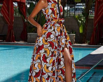 Robe maxi imprimé africain -Ankara maxi robe-robe-maxi robe-femme robe-vêtements-Vêtements -vêtements-Ankara robe-robe sans manches -robe d'été #ankaramode