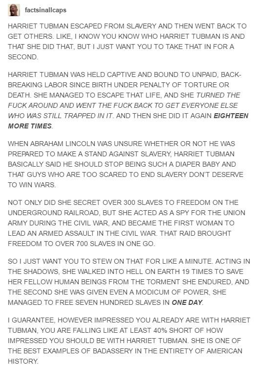 Facts In All Caps post on Harriet Tubman | teaching