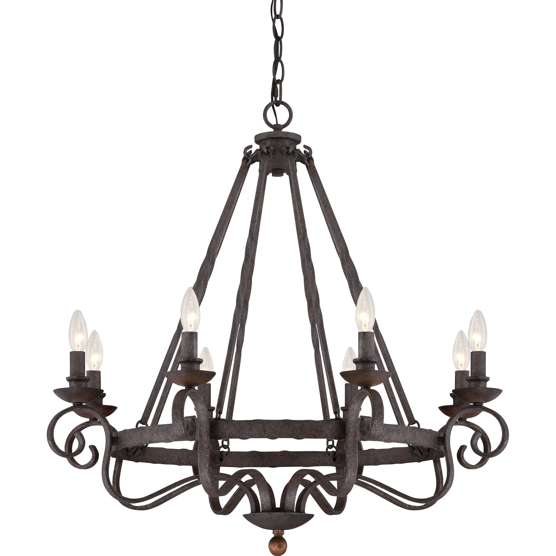 Quoizel Noble 8 Light Chandelier In Rustic Black Rustic Chandelier Chandelier Lighting Candle Chandelier