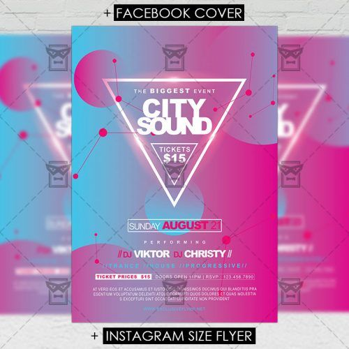 Premium A5 Flyer Template City Sounds Flyer Template A5 And