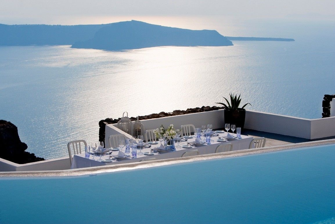 Ocean View From The Grace Hotel In Santorini Islands Greece