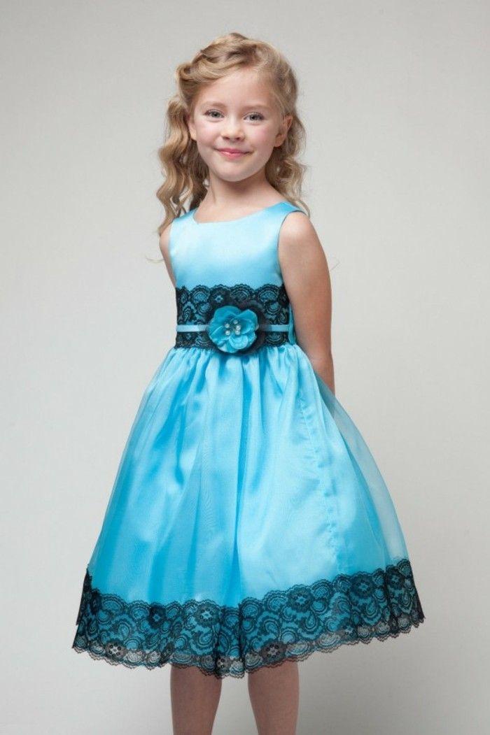 ebaee8a2a4e88 tenue de mariage enfant Beau cortege robe Gerona en turquoise avec dentelle  noire sur la taille et sur les ourlets