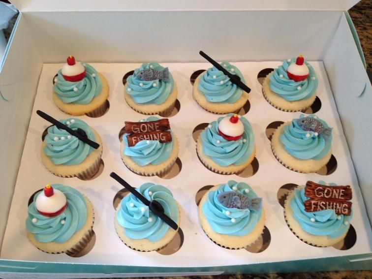 Fishing theme cupcakes cake pops craftsy fish party for Fishing themed cake toppers