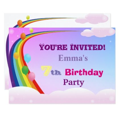 Rainbow And Balloons 7 Year Old Birthday Party Card