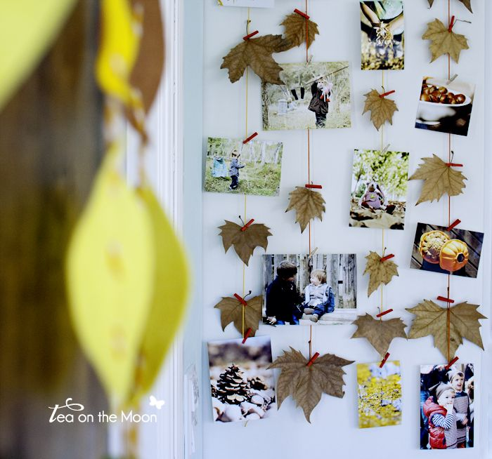 "Autumn leaf & photo mobile - from Tea on the Moon, image shared by Kireei cosas bells ("",)"
