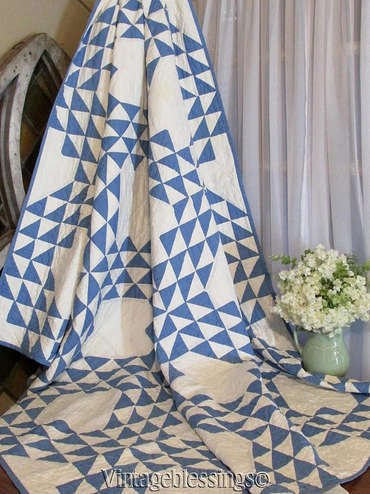 Gorgeous! ANTIQUE c1920s Ocean Waves in BLUE & White QUILT Clean ... : cleaning antique quilts - Adamdwight.com
