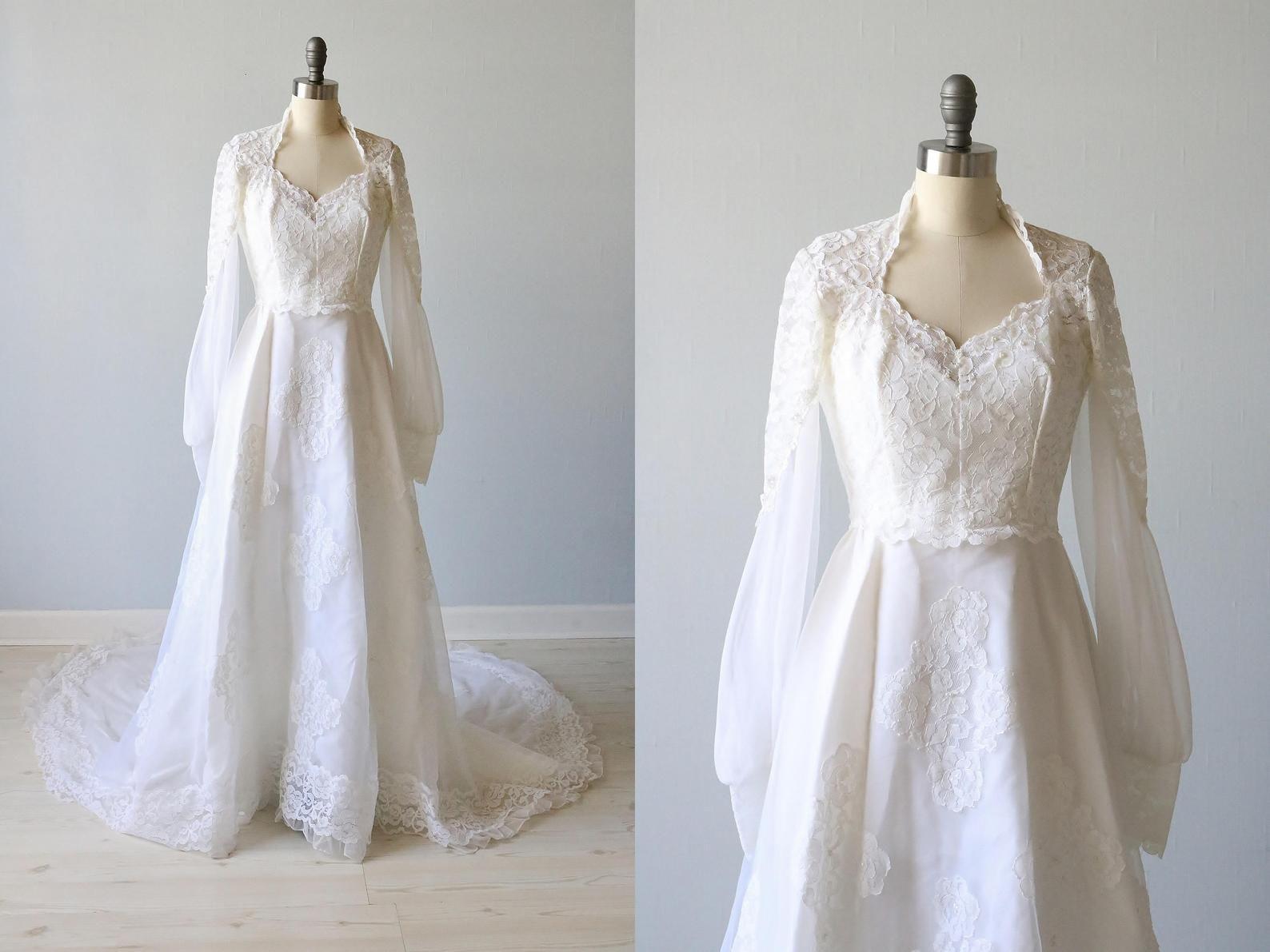 Vintage Wedding Dress 1970s Boho Long Sleeve Etsy