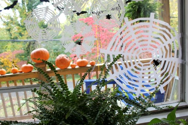 How to Make A Halloween Spider Web Craft from Coffee Filters DIY - spider web halloween decoration