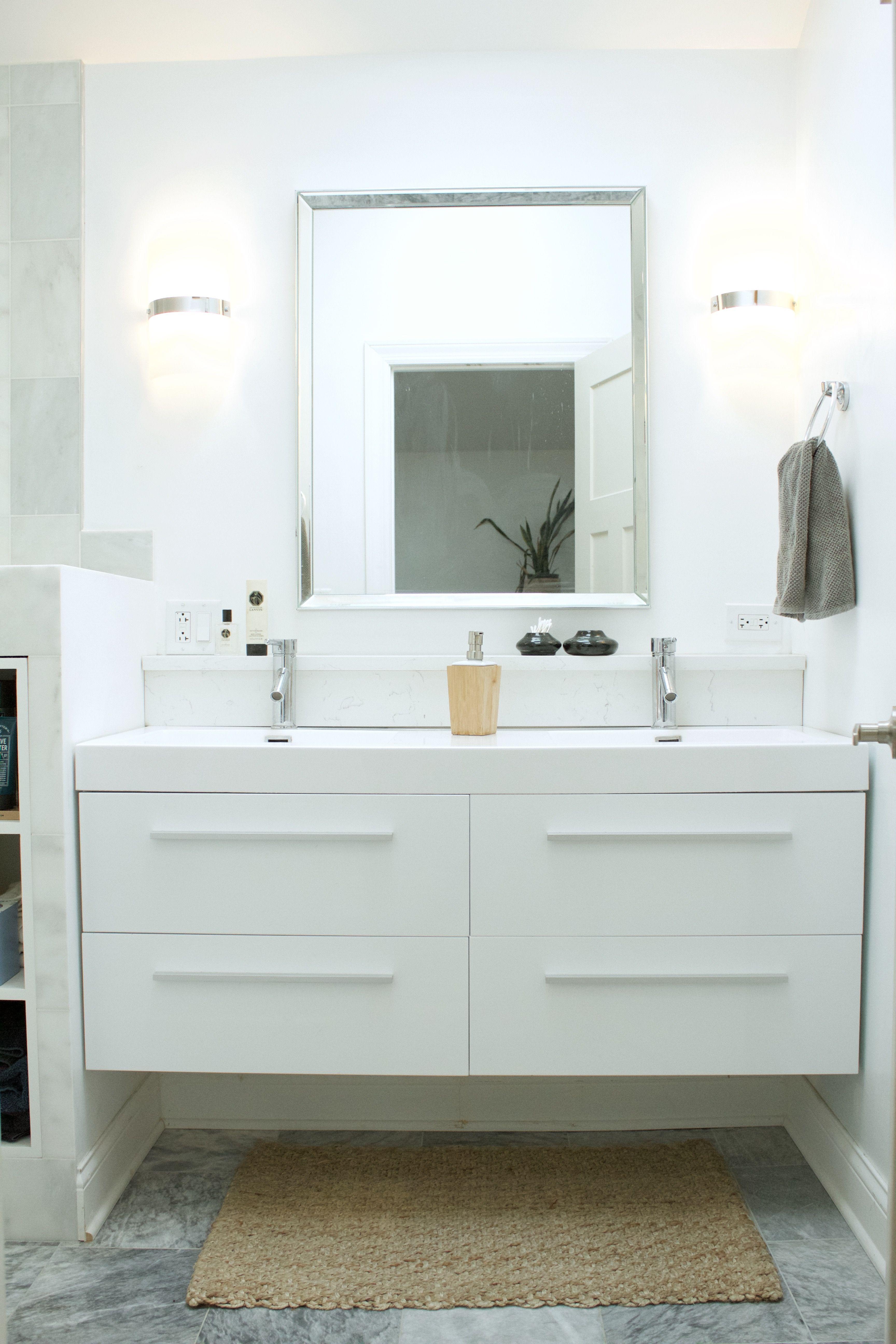 Pin By Helene On Bathroom Design Double Sink Bathroom Cabinets Modern White Bathroom Home Depot Bathroom Vanity