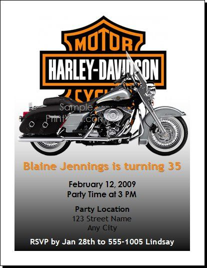 free printable motorcycle invitations Harley Birthday Party