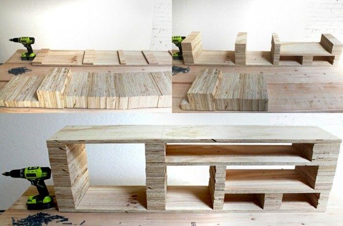 Fabriquer un meuble tv - instructions et modèles DIY Pinterest