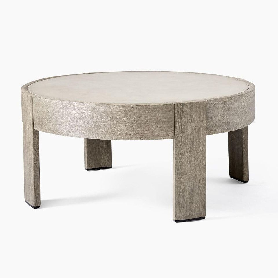 Portside Outdoor Round Concrete Coffee Table Weathered Grey [ 960 x 960 Pixel ]