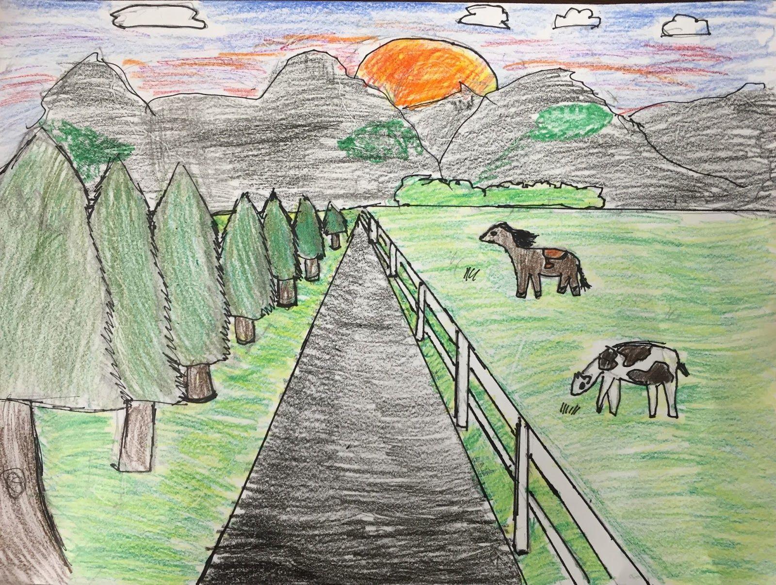 Elementi Della Camera Art 5 Grado One Point Perspective Landscapes Perspective Art Landscape Drawings Landscape Art Lessons