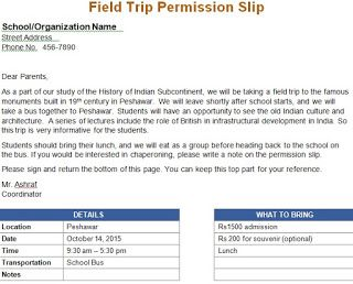Field Trip Permission Letter for the Parents  School Resources