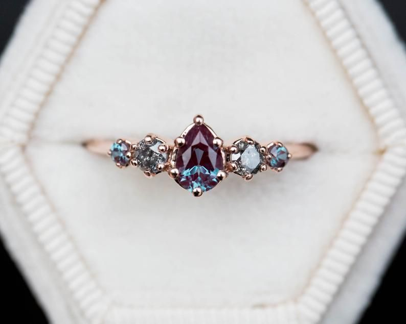 Photo of Alexandrite grey diamond cluster ring, five stone ring, color change ring, cluster ring, 14k gold ring, unique engagement ring