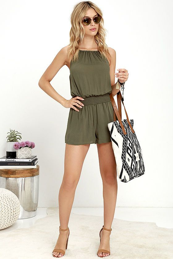 638cd395f97 Take the Leap Olive Green Romper