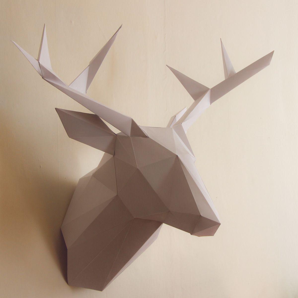 trophée de chasse cerf en papier 44 cm blanc décorations