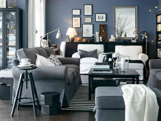 living room - black, blue, silver ---- this in a brighter navy