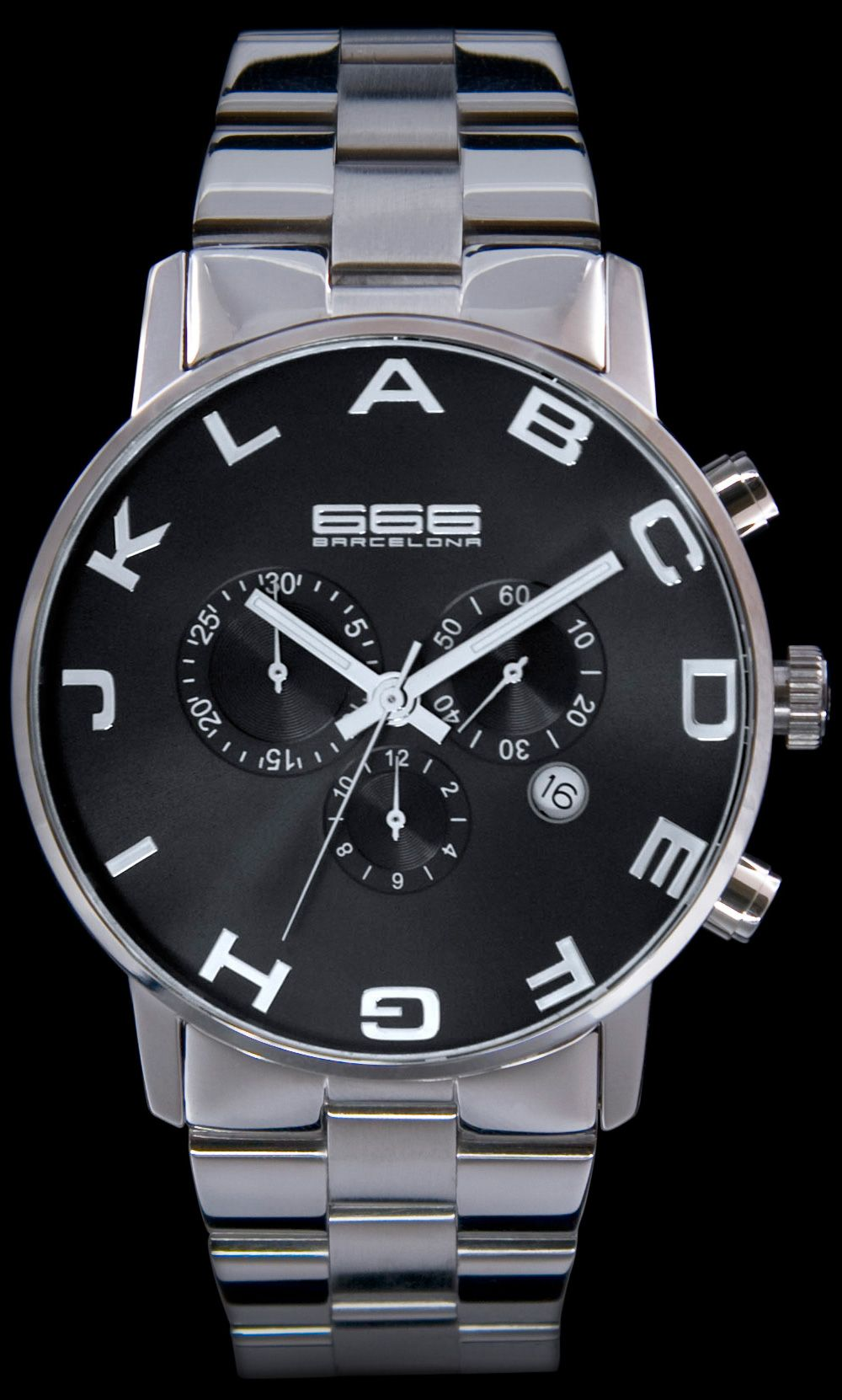 b929f873576c 666 Barcelona Alphabet SS Chrono Black Watch from Watchismo.com Cool Watches