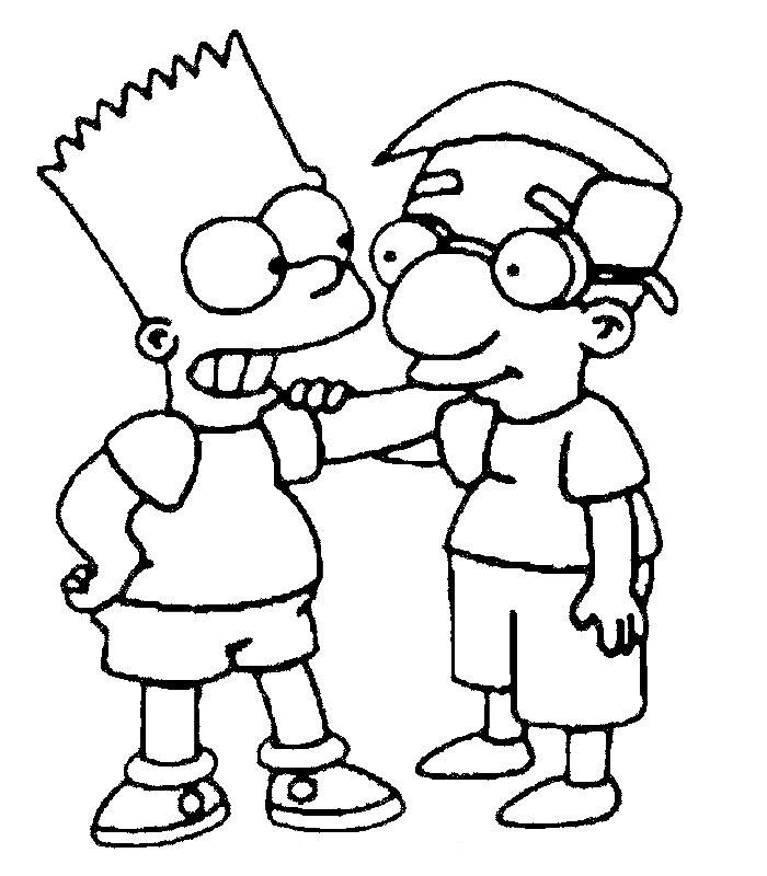 Bart & Milhouse Cartoon coloring pages, Simpsons