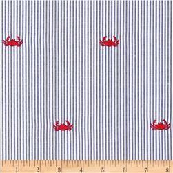 Embroidered Seersucker Navy White Crab Red Con Imagenes