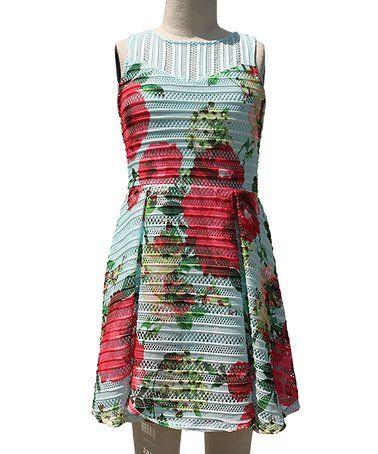 Look what I found on #zulily! Mint Floral Stripe A-Line Dress #zulilyfinds