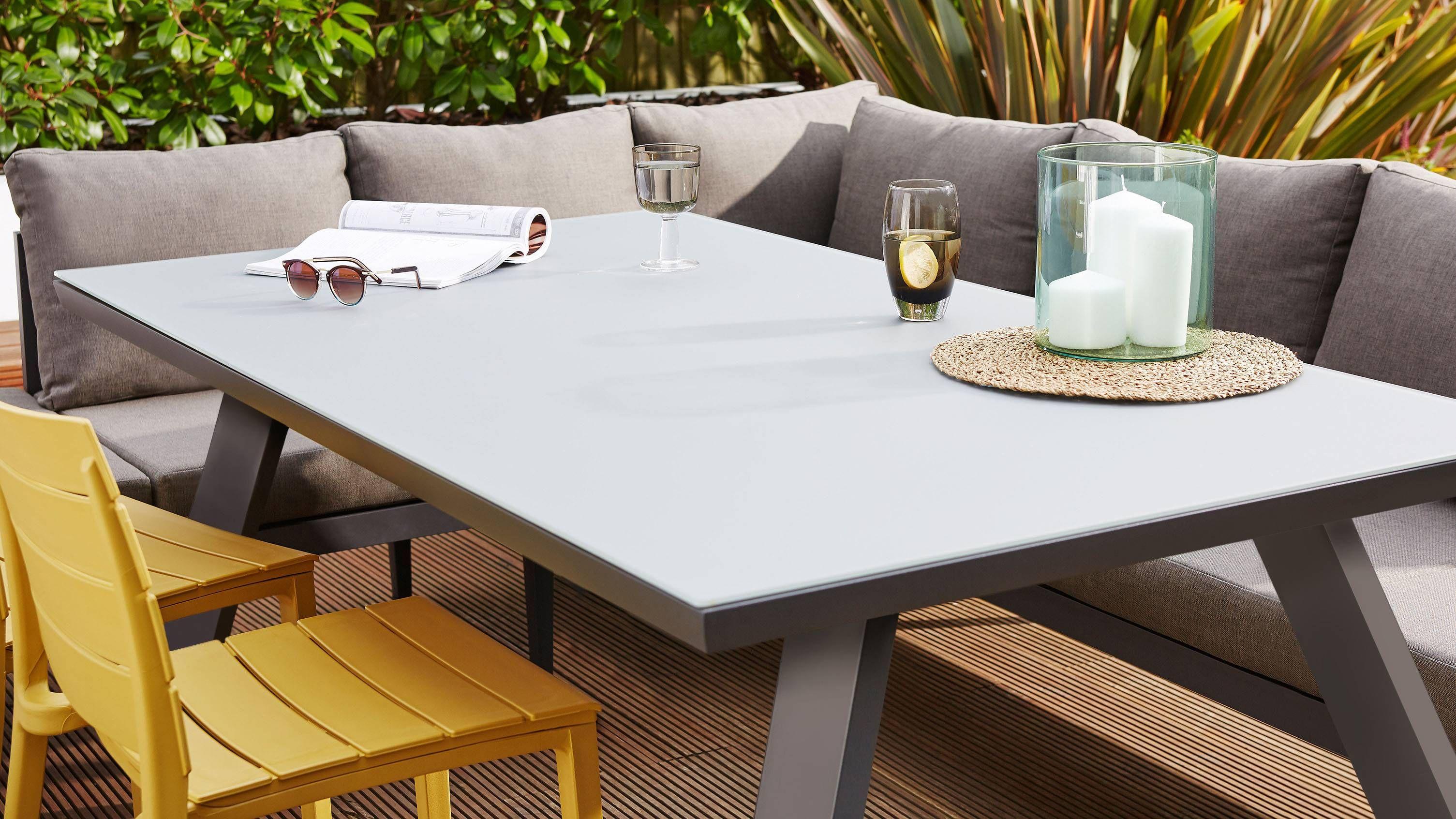 Z Dropped Fresco Grey 6 Seater Trestle Garden Table Garden