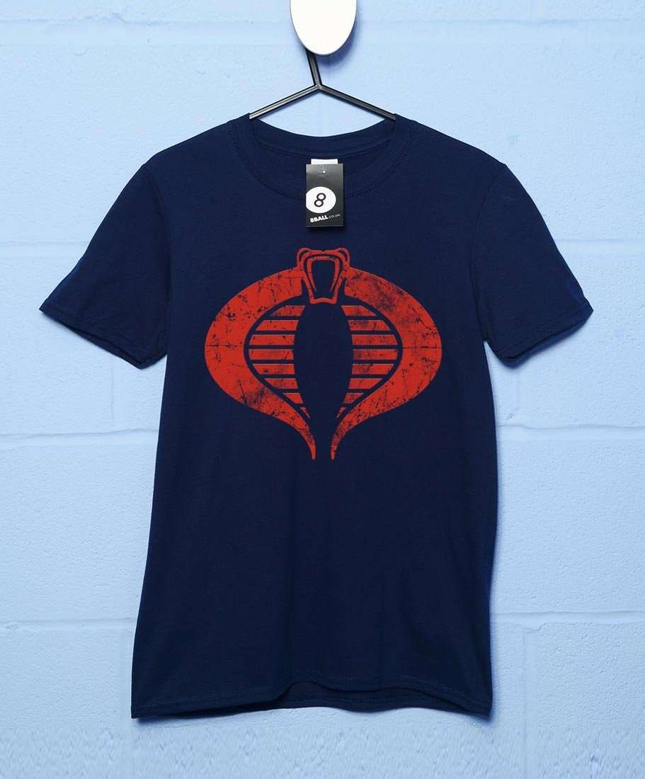 Distressed Cobra T-Shirt - Navy / Small