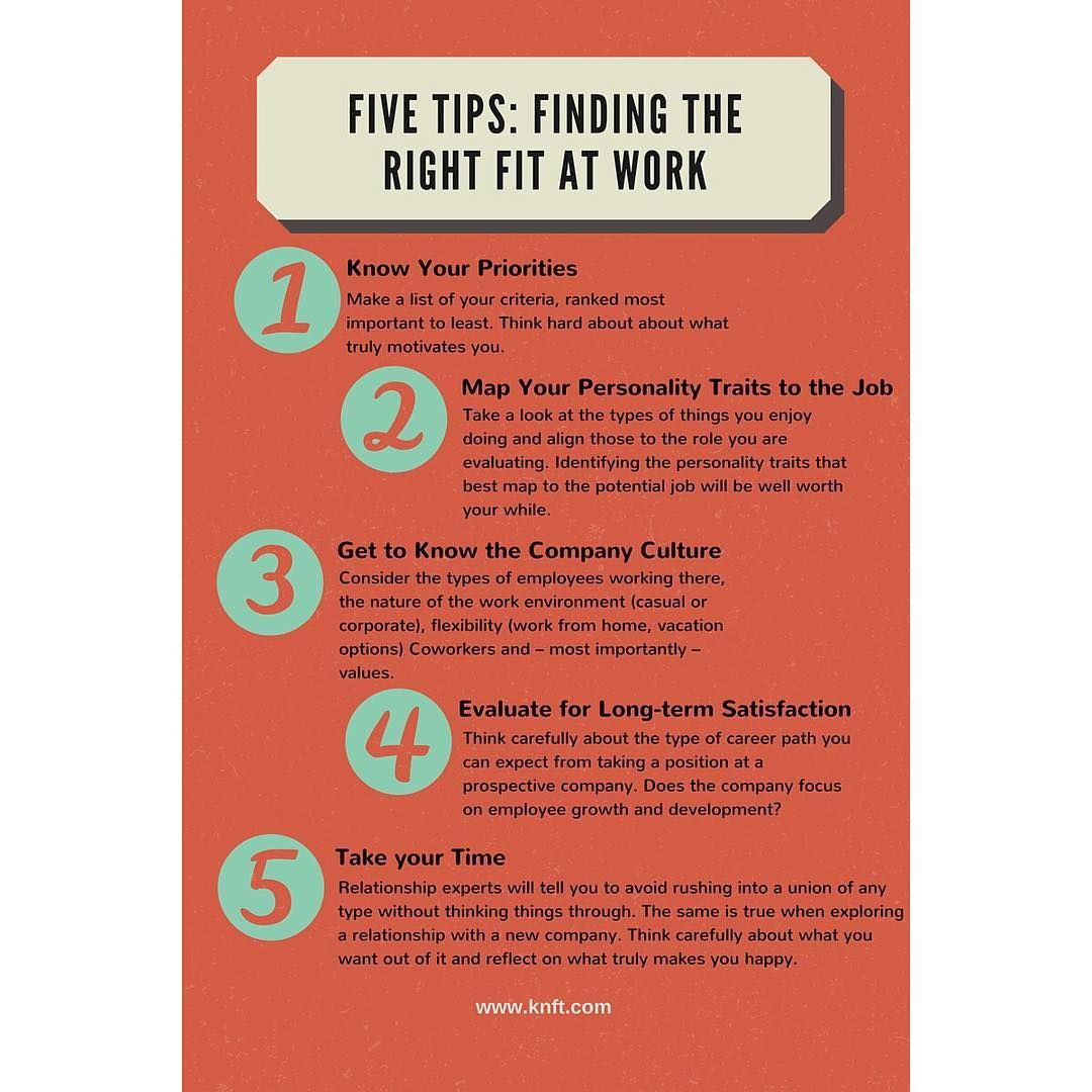Use These 5 Tips To Find The #rightfit At Work! Read More (Link
