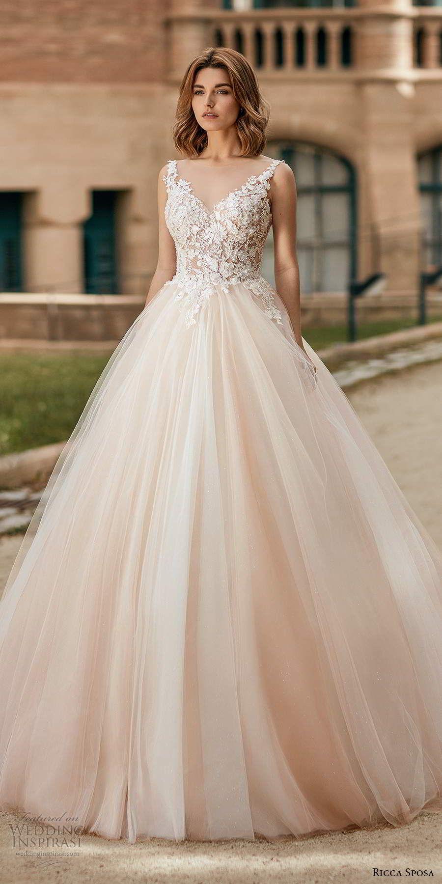 Weddinginspirasi.com featuring - ricca sposa 2020 barcelona bridal sleeveless straps sweetheart neckline heavily embellished bodice pink a line ball gown wedding