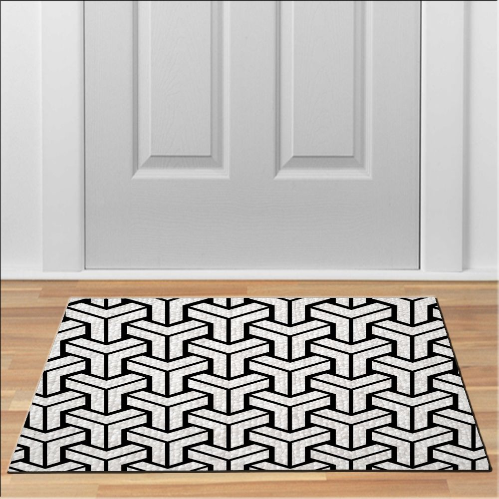 cool MODERN PATTERN BLACK WHITE Doormat Floor Durable Non-Slip ...