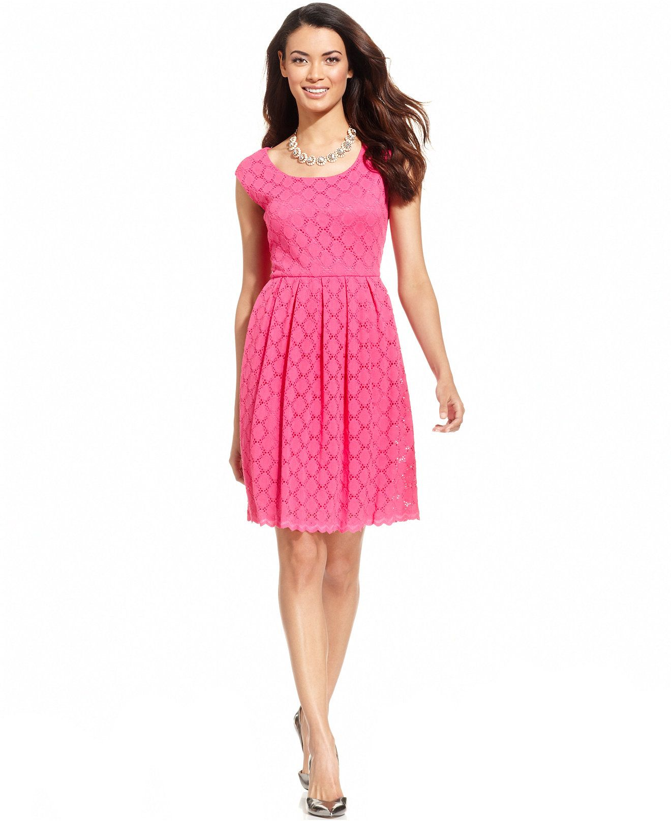 Ronni Nicole Cap-Sleeve Crochet-Lace Dress - Dresses - Women ...