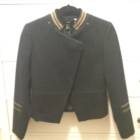 Navy with gold detail wool / polyester jacket Never been worn. Angled zipper makes this jacket really flattering. Fits like a glove. Perfect fall / early spring jacket. Size 8 H&M but fits like a 4. H&M Jackets & Coats