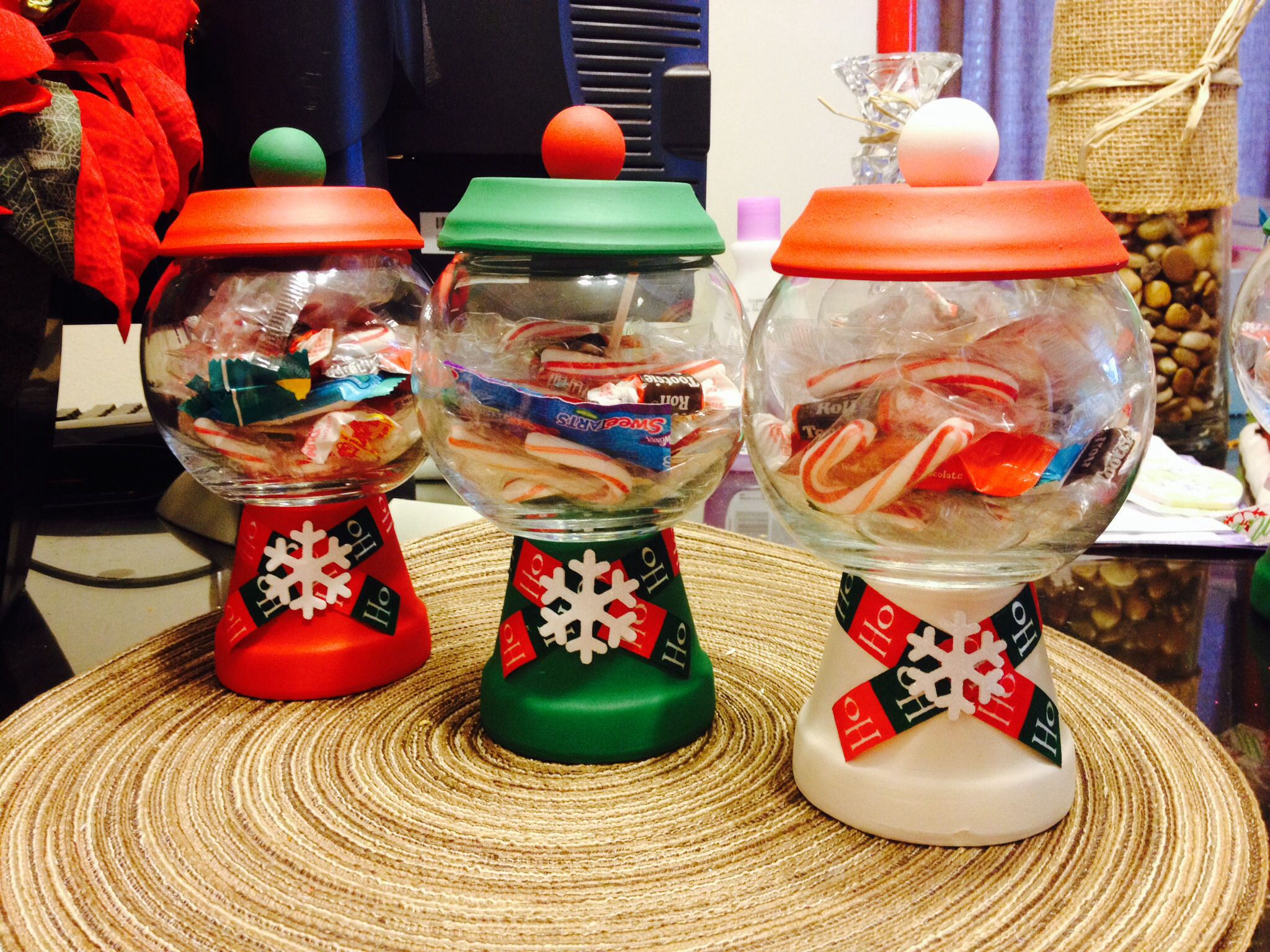 Christmas Gumball Candy Jars