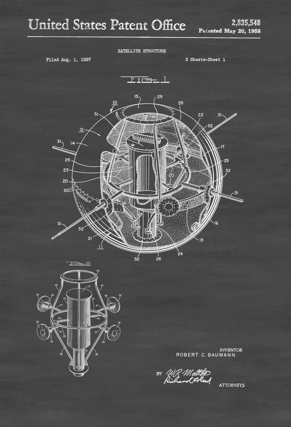 Satellite Patent - Space Art, Aviation Art, Blueprint, Pilot Gift ...