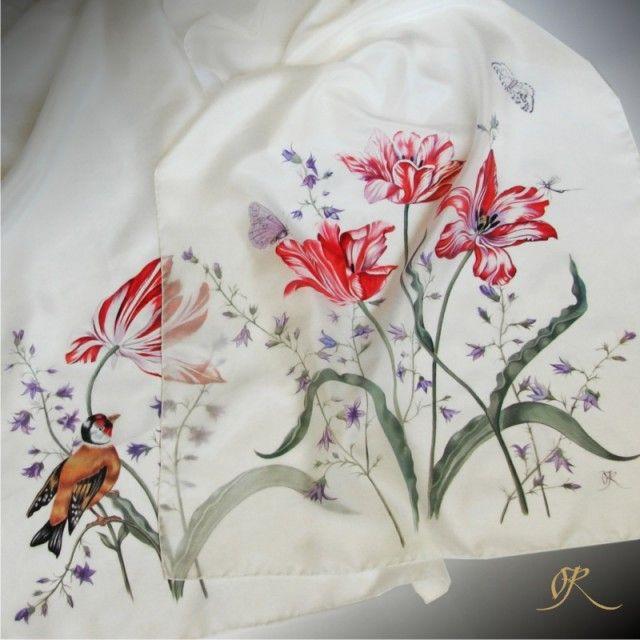 "Silk scarf ""Tulips"". Silk painting by Lena Korolyuk"