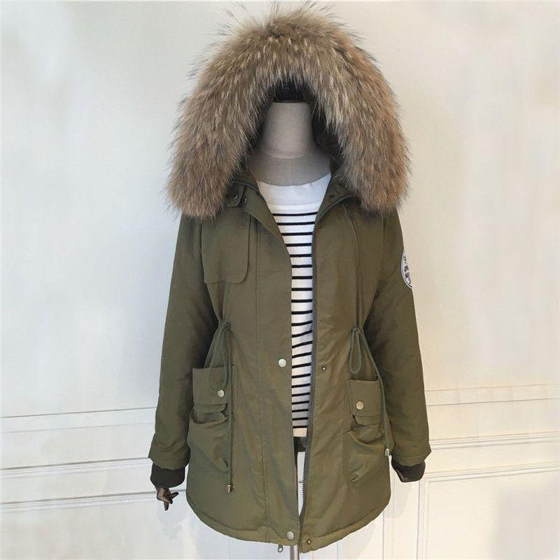 Winter Men Women Real Big Raccoon Fur Collar Parka Long Thicken ...