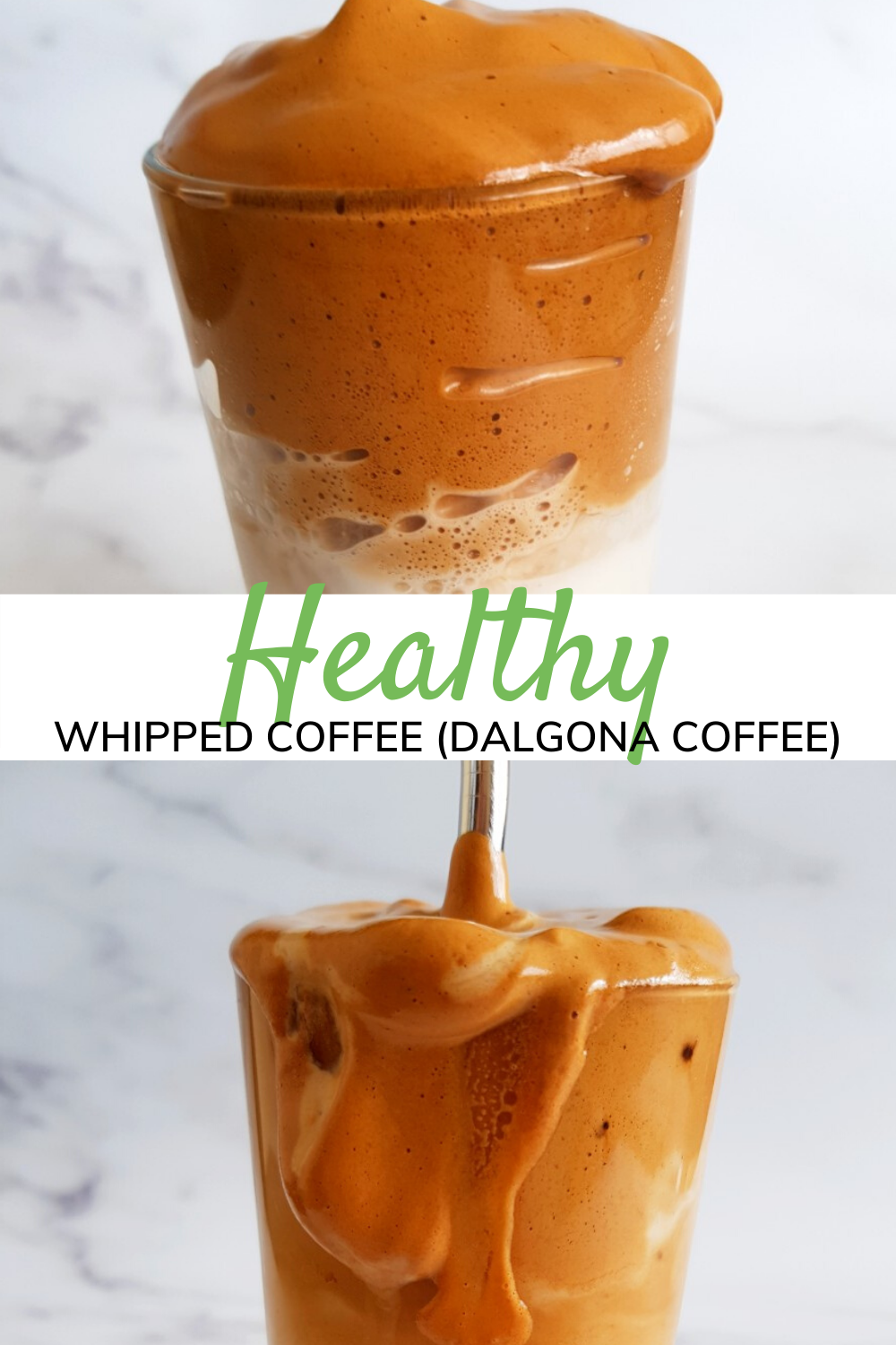 Iced Whipped Coffee (Dalgona Coffee) with Almond Milk