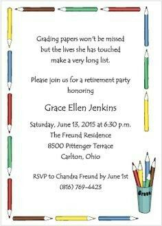 Pin By Brandy On Baby Wedding Shower Ideas Teacher Retirement Parties Retirement Party Invitations Teacher Retirement