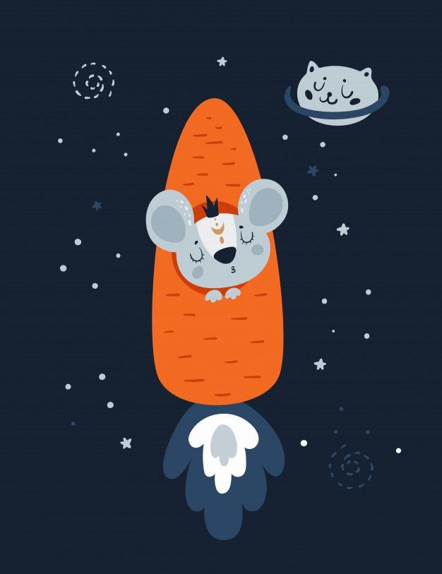 Mice Mouse Rat In Carrot Rocket And Cat Planet In Space.