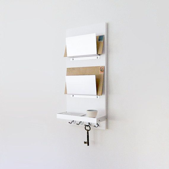 Modern Mail Organizer White Wall Mount Iphone Wallet Key Etsy Mail Organizer Wall Pretty Office Supplies Mail