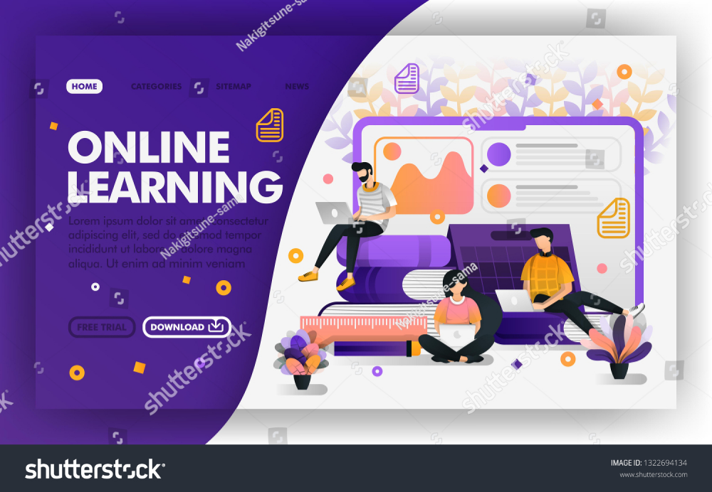 Student Studying With Internet Vector Web Concept Distance Learning System E Learning Easy To Use For Website Banner Landing Page Brochure Flyer Print