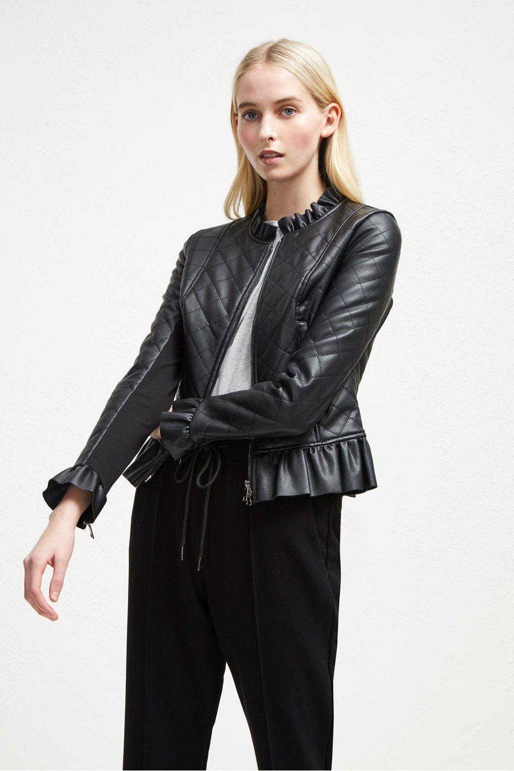 Brishen PU Frill Edge Jacket Leather Jackets French