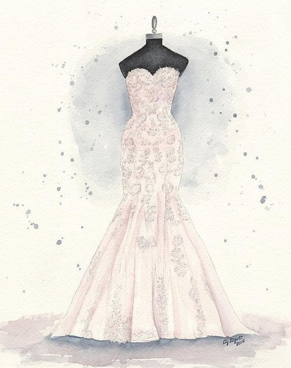Custom Wedding Dress Painting Watercolor Dress By Watercolorsbyliz