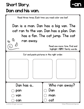 Short Story. Dan and his Van. | Reading Worksheets ...