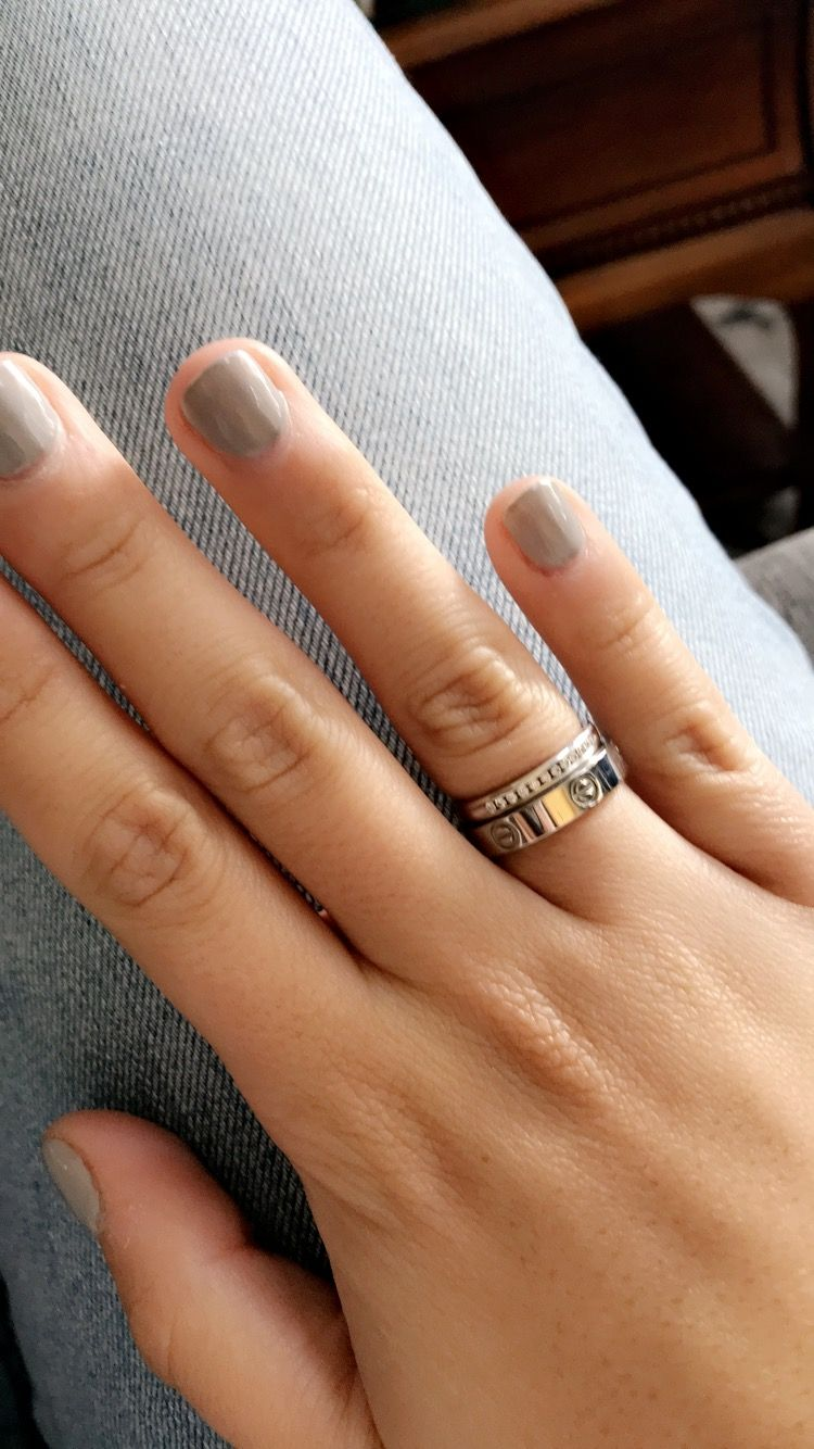 Grey Gel Nails And Cartier Wedding Band Cartier Wedding Bands Grey Gel Nails Stacked Wedding Bands