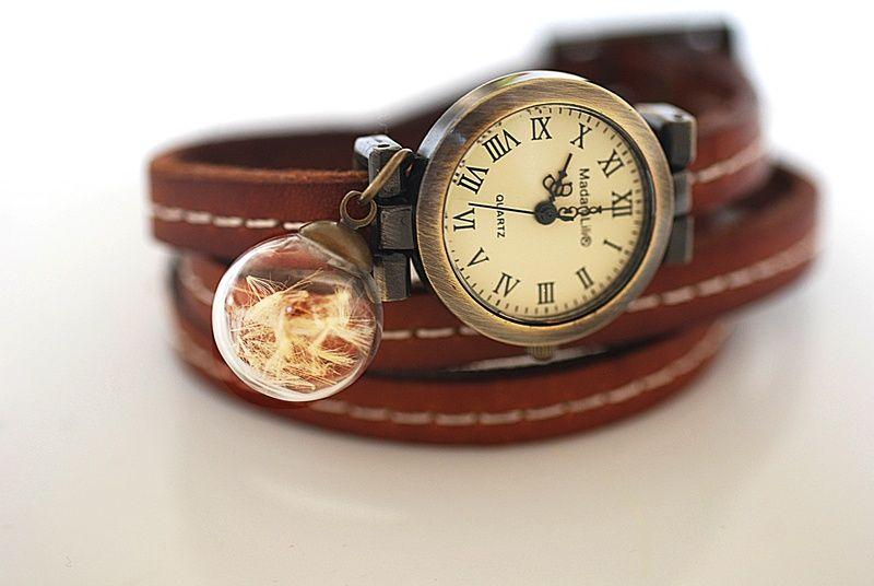Skórzany zegarek 'Dmuchawiec'   w MadamLili ♥  Radość życia do noszenia ♥  na DaWanda.com